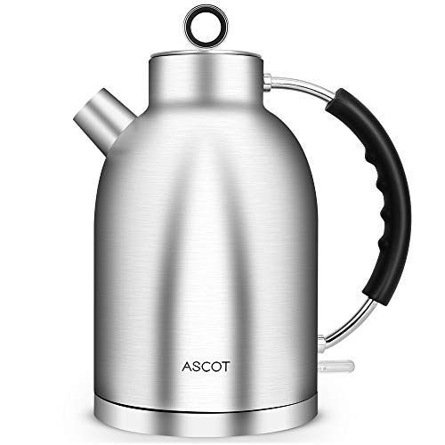 ASCOT Electric Kettle,1.7QT Hot Water & Tea Heater with Food Grade Stainless Steel No Plastic Inside,Cordless Water Boiler Fast Heating Auto Shut-Off & Boil-Dry Protection