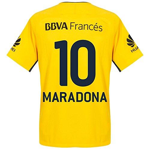 Boca Juniors Away Jersey (Boca Juniors Away Maradona Jersey 2017 / 2018 (Fan Style Printing) - L)