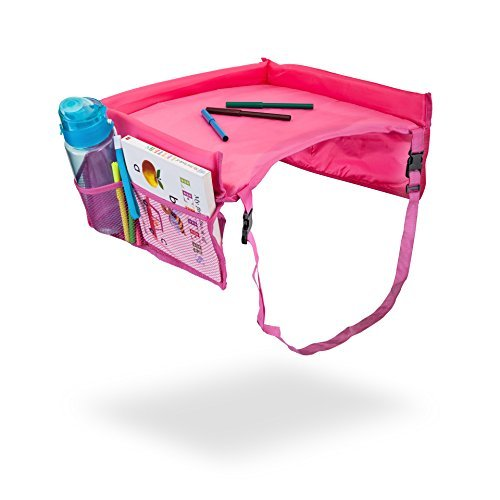 Barbar Kids and Toddler Travel Back Seat Activity Tray, Snack and Toy Organizer for Cars, Planes, Play, with Carry and Seat Strap (Pink)