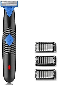Recortadora Barba para Hombre, Maquinilla Barba Electrica Híbrida de Doble Filo y Maquina de Afeitar con 3 Peines de estilo, USB Recargable y Resistente al Agua, Húmedo y Seco– Azul: Amazon.es: Salud