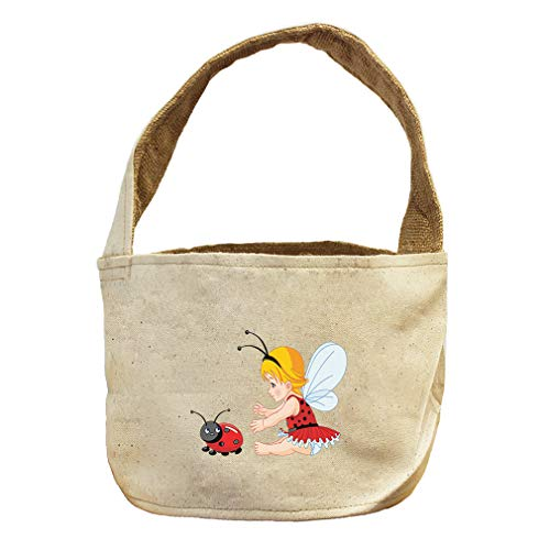 Style In Print Little Girl with Wings and Ladybird Canvas and Burlap Storage Basket Natural