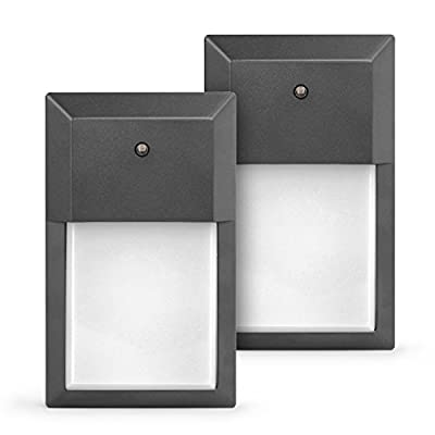 SHINE HAI LED Wall Pack Light, 1000 Lumens, 12W (100-150W Replacement), 3000K Soft White, Photocell Dusk to Dawn LED Flood light, 5 Years Warranty, 2-Pack