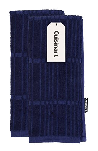 Cuisinart Bamboo Kitchen Towels - Ultra Soft, Absorbent and Anti-Microbial - Perfect for Drying Hands and Dishes - Premium Bamboo / Cotton Fiber Blend - Navy, Set of 2, 16