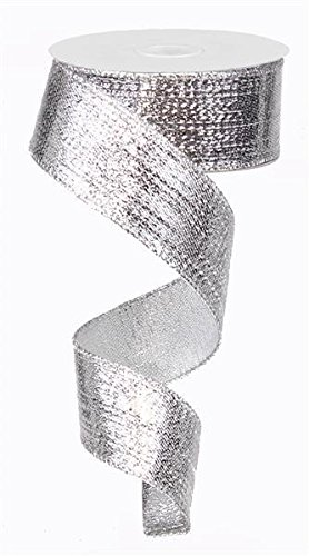 Metallic Wired Ribbon (Silver Metallic Lame Wired Ribbon (1.5 Inches x 10 Yards) : RG0139926)