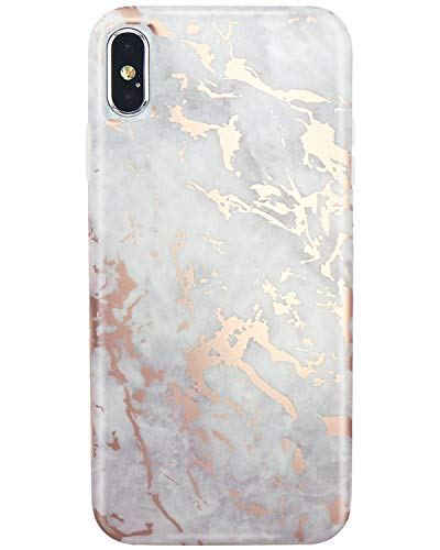 JIAXIUFEN Shiny Rose Gold Cloud Gray Marble Slim Shockproof Flexible Bumper TPU Soft Case Rubber Silicone Cover Phone Case for iPhone Xs Max 2018 6.5 inch