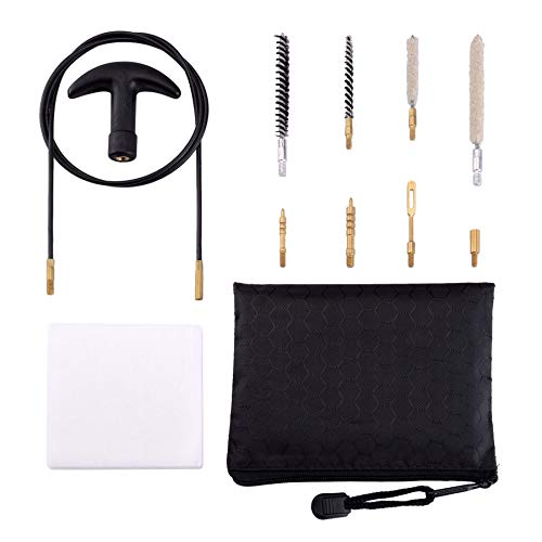 Raiseek .177 Cal & .22 Cal Airgun Cleaning Kit with Cotton Mop Nylon Brushes Flex Cable in Zippered Pouch
