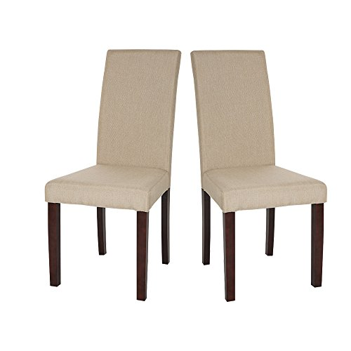 Glitzhome Padded Fabric Dining Chairs Beige, Set Of Two