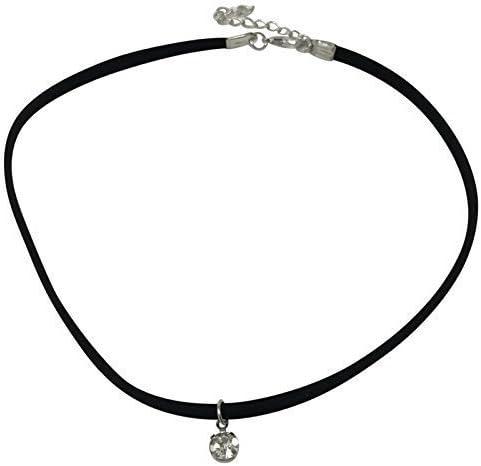 Live It Style It daim noir cordelette strass pendentif ras du cou cristal collier r/étro hippie