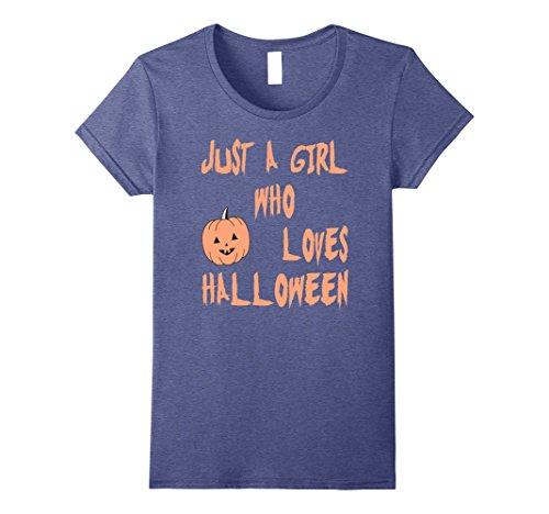 Womens A Girl Who Loves Halloween T-shirt for Women Pumpkin Tee Small Heather Blue (Halloween Castume)