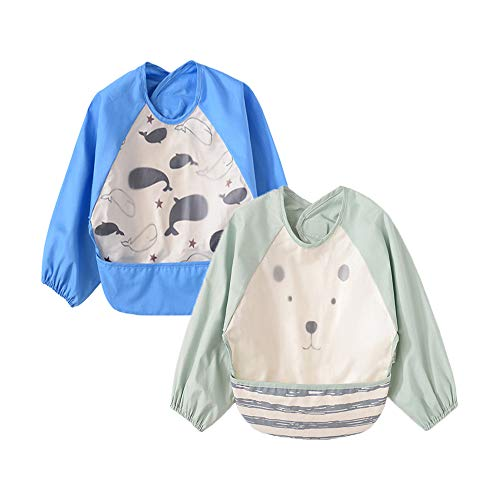 Babyfriend Baby 2 Pack Unisex Infant Toddler Waterproof Sleeved Feeding Bib Smock Clothes, 6 Months-3 Years