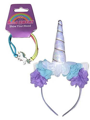 DELUXE White Pearl Unicorn Horn HEADBAND w/ MOOD BRACELET Rose Flower, Animal Ears, Gold Spiral Trim - Birthday Party Cosplay Costume Valentines Day Gift Headwear Headdress Adults Kids Girls