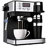 Best Choice Products 3-in-1 15-Bar Espresso, Drip Coffee, and Cappuccino Latte Maker Machine w/Steam Wand Milk Frother, Thermoblock System, Tumbler, Portafilters, LED Display