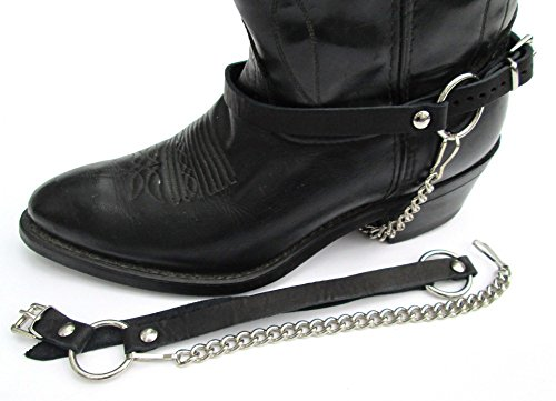 Dangerous Threads Biker Boots Boot Chains Black Leather Harness Straps