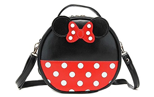 Finex Minnie Mouse style Small Circle Polka dots Crossbody bag - Multifunction Travel Mini Handbag with Shoulder Strap (Red/Black)