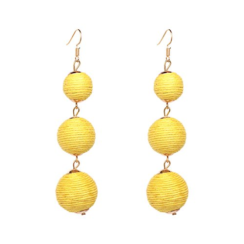 Women Thread Ball Dangle Earrings Thread Dangle Earrings Soriee Drop Earrings Beaded Ball Ear Drop (Yellow) ()