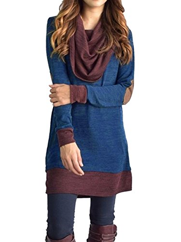 Famulily Women's Cowl Neck Tops Two Tone Color Block Pullovers Elbow Patchs Loose Long Tunic Blouse(M,Blue)