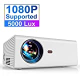 Projector, YABER Portable Projector with 5000LUX 60,000 HRS LED Lamp Life, 1080P and 200'' Supported, Full HD Mini Movie Projector Compatible with Smartphone/Fire Stick/TV/PS4 Ideal for Home Theater