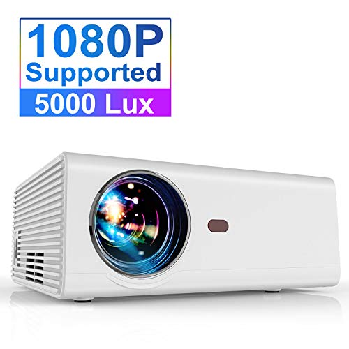 "Projector, YABER Portable Projector with 5000LUX 60,000 HRS LED Lamp Life, 1080P and 200"" Supported, Full HD Mini Movie Projector Compatible with Smartphone/Fire Stick/TV/PS4 Ideal for Home Theater"