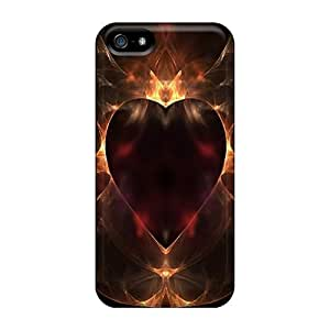 New BVVHWRK3111jtZSD Golden Heart Skin Case Cover Shatterproof Case For Iphone 5/5s