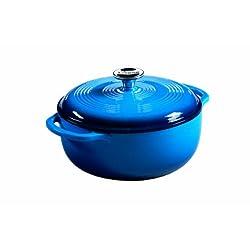 Lodge Color Enameled Cast Iron Dutch Oven, Carribean Blue, 4.5 Quart
