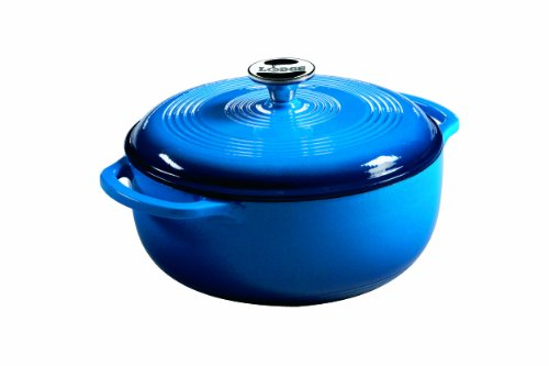 Lodge Color Enameled Cast Iron Dutch Oven, Carribean Blue, 4.5 Quart