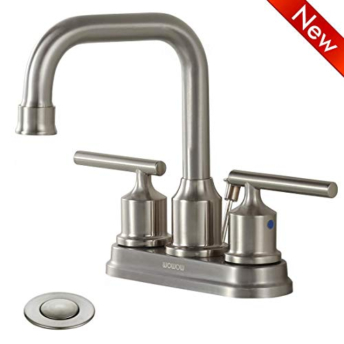 WOWOW Bathroom Faucet 2 Handle Brushed Nickel 4 inch Sink Faucet Two Handle Lead-free Stainless Steel High-Arc Widespread Bathroom Sink Faucet Lavatory Commercial Contemporary with Pop Up Drain ()