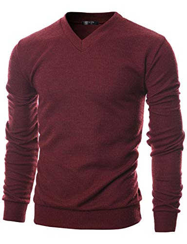 GIVON Mens Slim Fit Soft Cotton Blend V-Neck Pullover Sweater/DCP056-MAROON-M