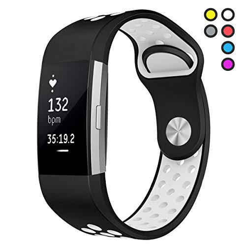 Compatible for Fitbit Charge 2 Bands Large Replacement Accessory Sport Strap Band for Fitbit Charge 2 HR,White,Large