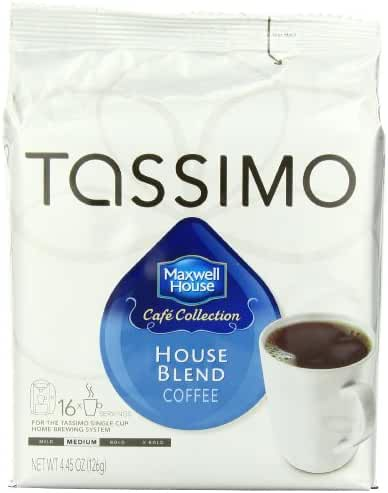 Maxwell House Cafe Collection House Blend Coffee, T-Discs for Tassimo Coffeemakers, 16-Count Packages 4.45 Ounces (Pack of 5)