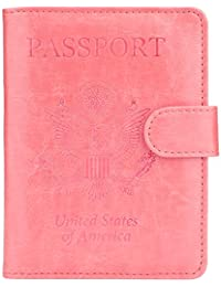 45cb49e72bf Leather Passport Holder Cover Case RFID Blocking Travel Wallet (Pink)