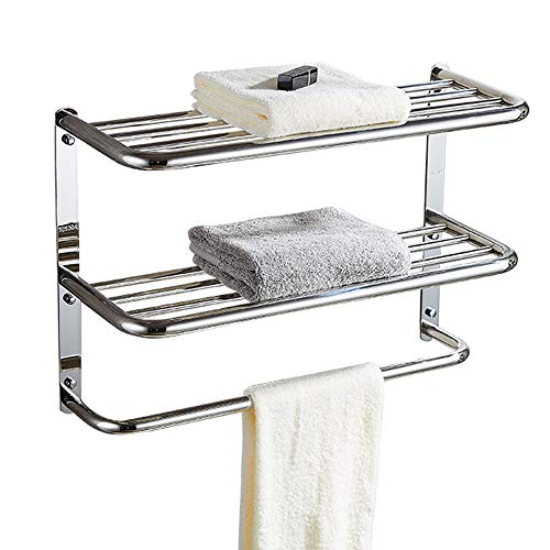 30 Inch Bathroom Shelf 3-Tier Wall Mounting Rack with Towel Bars, Extra Long
