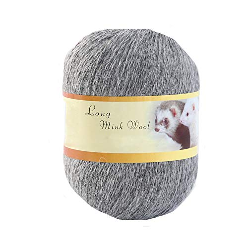 Clisil 100g Crochet Gray Mink Wool Yarn Soft Warm Hand Knit Cashmere Yarn Flurry Yarn DIY Scarf Sweater Hat Yarn Winter Yarn