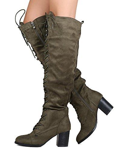 RF RAUM DER MODE Caymus-24 Damen Wildleder Schnürschuh Runde Toe Chunky Heel Overknee Stiefel Olivgrünes Wildleder