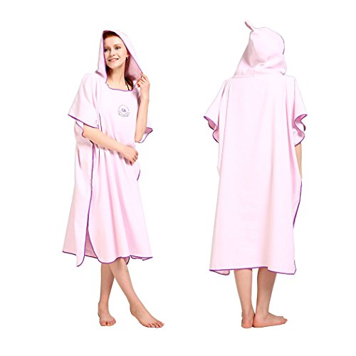 - Hiturbo Microfiber Surf Beach Wetsuit Changing Towel Bath Robe Poncho with Hood -One Size Fit All
