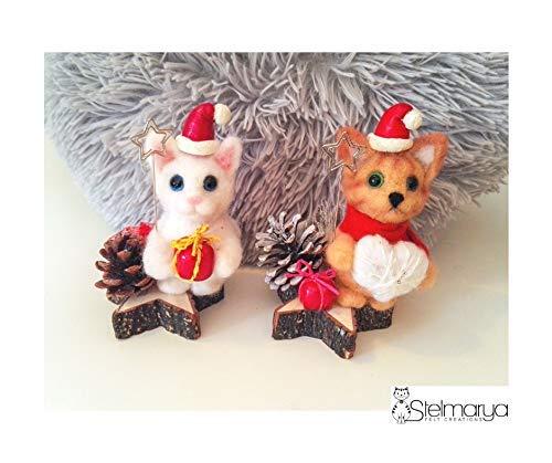 Segnaposto Natalizi Lana.Set 2 Ornamenti Segnaposto Portafoto Gatti Natalizi Natale Lana