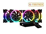 GAMDIAS RGB Case Fan 120mm Dual Light Loop Motherboard Sync with Remote Control Color - Four Fan Pack Cooling Aeolus M1-1204R
