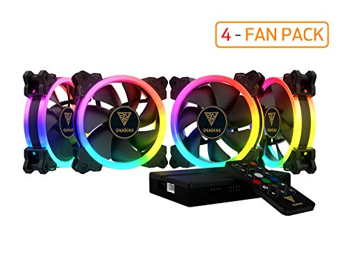 GAMDIAS RGB Case Fan 120mm Dual Light Loop Motherboard Sync with Remote Control Color - Four Fan Pack Cooling Aeolus M1-1204R by GAMDIAS (Image #7)