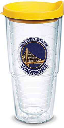 Tervis 1051629 NBA Golden State Warriors Primary Logo Tumbler with Emblem and Yellow Lid 24oz, Clear