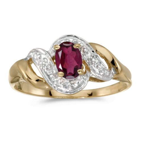 FB Jewels 14k Yellow Gold Genuine Red Birthstone Solitaire Oval Rhodolite Garnet And Diamond Swirl Wedding Engagement Statement Ring - Size 7 (1/2 Cttw.) ()