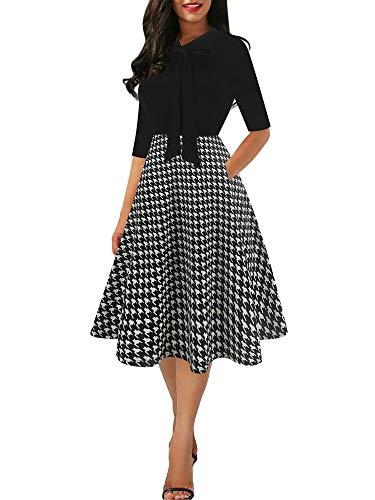 Sakaly Women's Chic Stripe Dot Patchwork Pockets V-Neck Work Swing Dress with Bow-Knot SK278 (M, Black-Gird)]()