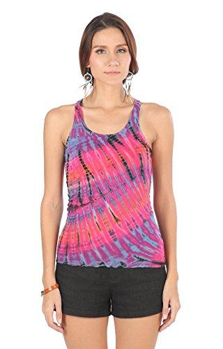 Tie Dye Yoga Top (CandyHusky Womens Sport Workout Yoga Tri Singlet Racerback Vest Tank Top Tie Dye (XL, Pink))