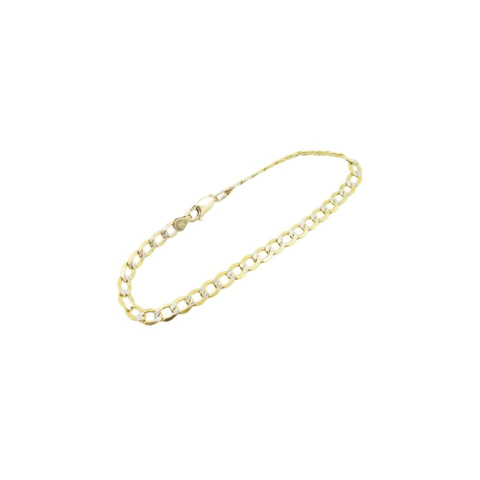 Mens 10k Yellow Gold diamond cut figaro cuban mariner link bracelet AGMBRP11 8 inches long and 5mm wide