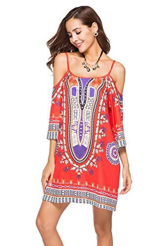 Corti Abito Africani Estivo Stampe Color 02 Vestiti Bohemian Abiti Da Sera Donna Vestitini Vestito Mini rBodeCx