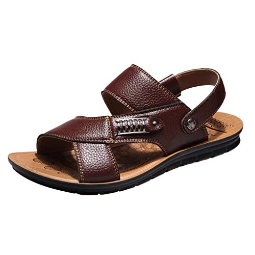 TANGSen Men's Fashion Breathable Leather Beach Sandals Shoes Casual Slides Platforms Outdoor Slippers Brown