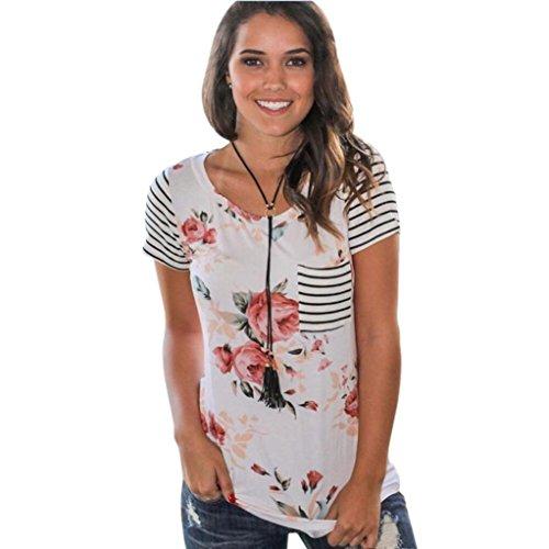 HOT SALE ! Stripe Short Sleeve T-Shirt,BeautyVan Beautiful Charming Sexy Women Stripe Short Sleeve Flower Printed T-shirt Tops (M, White)