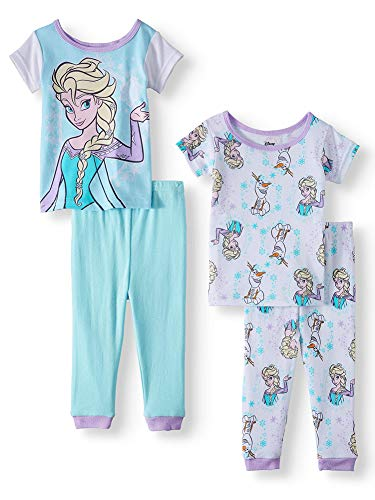 Disney Girls' Frozen 4-Piece Cotton Pajama Set