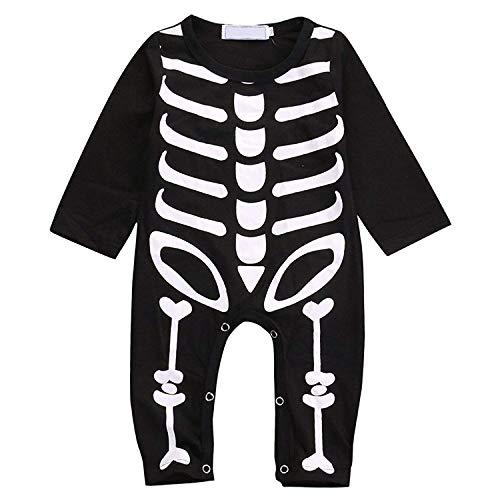 Younger star Baby Boys Girls Skeleton Long Sleeve Halloween Costume Onesie Jumpsuit (Black, 0-6 Months)