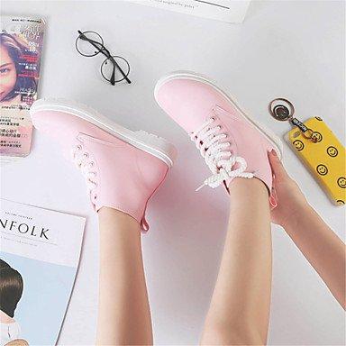 xuezi Bianco Rosa Trendy Tacco piatto pelle Casual Autunno Stivali Nero Comodo Nero Autunno Gll in Donna dIx67qdS