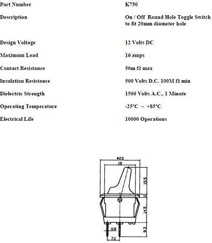 12V On//Off small Round Stumpy Rocker Toggle Switch Car Dash K750 ROBINSON