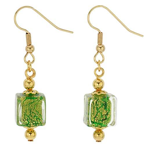 GlassOfVenice Murano Glass Antico Tesoro Cubes Earrings - Apple Green